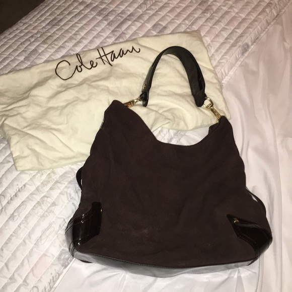 a23c0dd776 Cole Haan Bags | Brown Suede And Patent Leather Hobo Bag | Poshmark